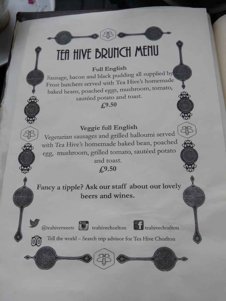 tea hive chorlton menu
